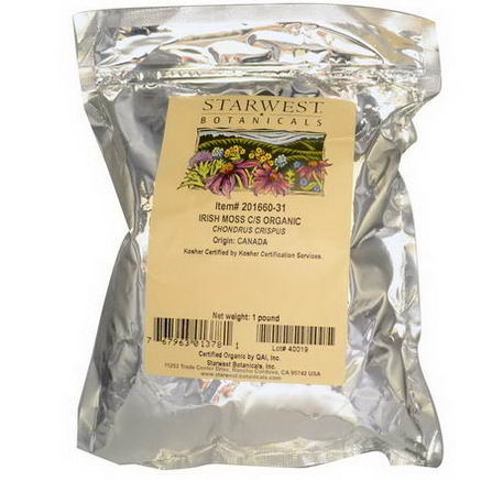 Starwest Botanicals, Organic Irish Moss Cut & Sifted, 16oz (1 lb)