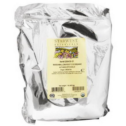 Starwest Botanicals, Organic Marshmallow Root C/S, 1 lb (453.6g)