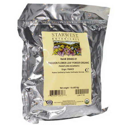 Starwest Botanicals, Passion Flower Leaf Powder Organic, 1 lb (453.6g)