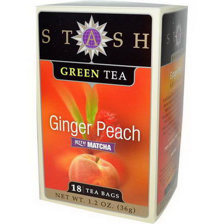 Stash Tea, Green Tea, Ginger Peach with Matcha, 18 Tea Bags, 1.2oz (36g)
