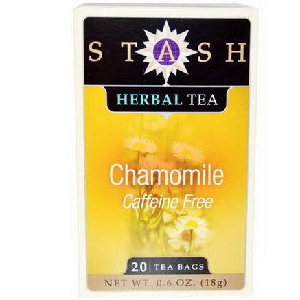 Stash Tea, Premium, Herbal Tea, Chamomile, Caffeine Free, 20 Tea Bags, 0.6oz (18g)
