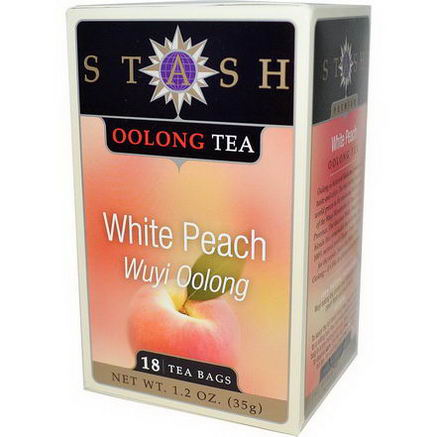 Stash Tea, Premium, Wuyi Oolong Tea, White Peach, 18 Tea Bags, 1.2oz (35g)