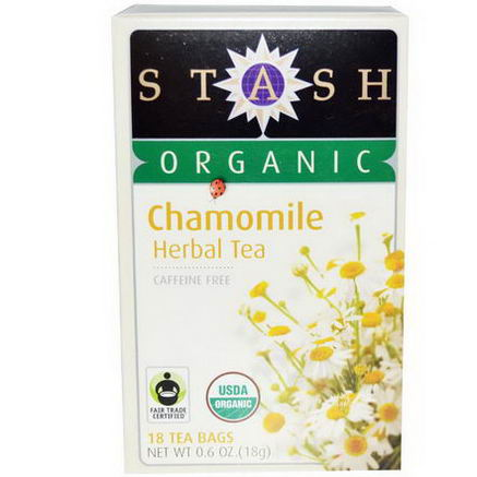 Stash Tea, Organic Chamomile Herbal Tea, Caffeine Free, 18 Tea Bags, 0.6oz (18g)