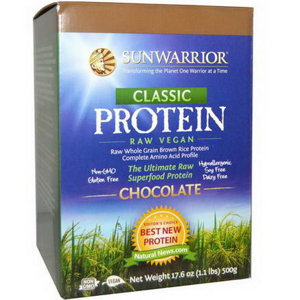 Sun Warrior, Classic Protein, The Ultimate Raw Superfood Protein, Chocolate, 17.6oz (500g)