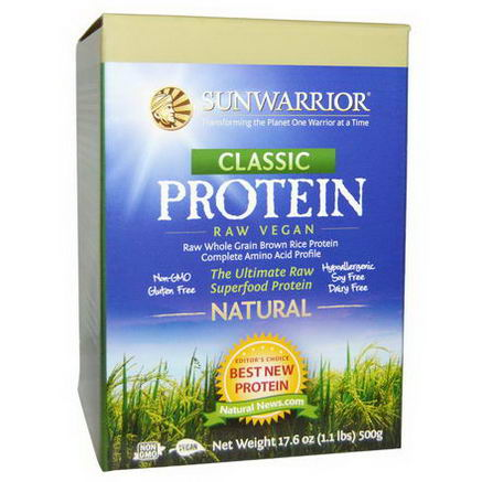Sun Warrior, Classic Protein, The Ultimate Raw Superfood Protein, Natural, 17.6oz (500g)