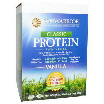 Sun Warrior, Classic Protein, The Ultimate Raw Superfood Protein, Vanilla, 17.6oz (500g)