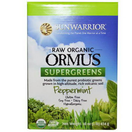 Sun Warrior, Raw Organic Ormus Supergreens, Peppermint, 16oz (454g)