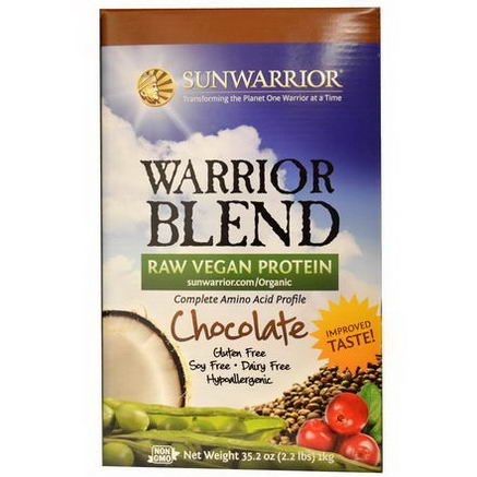 Sun Warrior, Warrior Blend, Raw Vegan Protein, Chocolate, 35.2oz (1 kg)