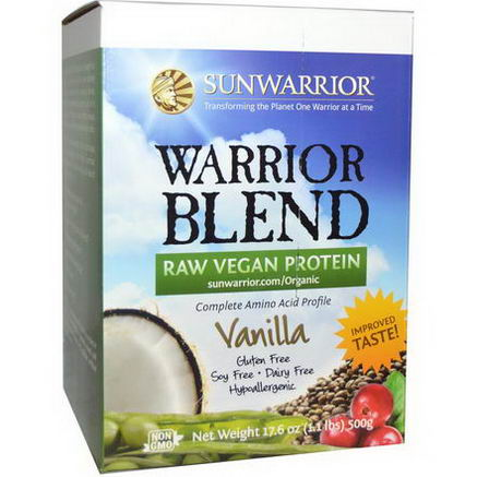 Sun Warrior, Warrior Blend, Raw Vegan Protein, Vanilla, 17.6oz (500g)