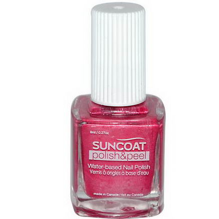 Suncoat, Polish & Peel, Water-Based Nail Polish, Pink Dahila, 0.27oz (8 ml)