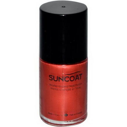 Suncoat, Water-Based Nail Polish, 06 Hot Scarlet, 0.5oz (15 ml)