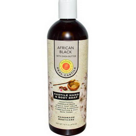 Sunfeather Soaps, Castile Hand & Body Soap, African Black with Shea Butter, 16 fl oz (473 ml)
