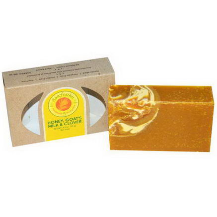 Sunfeather Soaps, Honey, Goat's Milk & Clover Bar Soap, 4.3oz (121g)