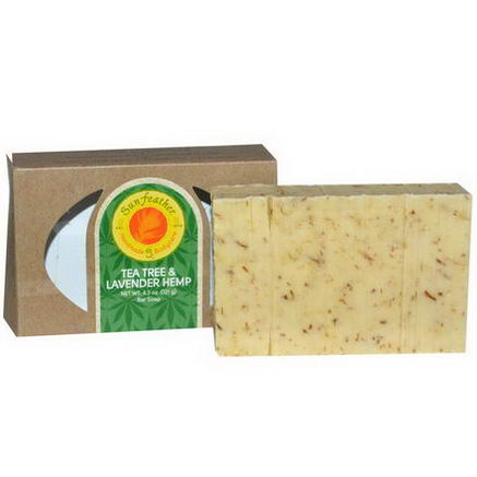 Sunfeather Soaps, Tea Tree & Lavender Hemp Bar Soap, 4.3oz (121g)