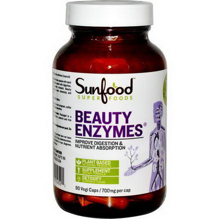 Sunfood, Beauty Enzymes, 700mg, 90 Vegi Caps