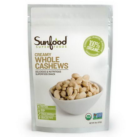 Sunfood, Creamy Whole Cashews, 8oz (227g)