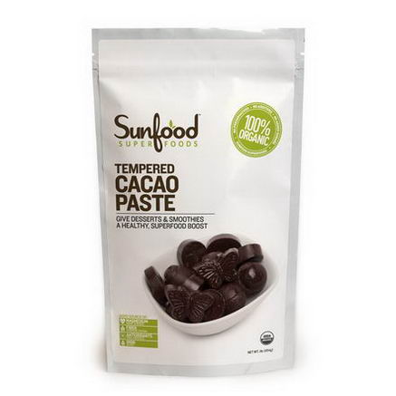 Sunfood, Organic, Tempered Cacao Paste, 1 lb (454g)