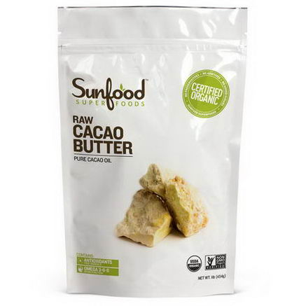 Sunfood, Raw Cacao Butter, 1 lb (454g)