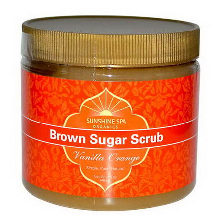 Sunshine Spa, Organics, Brown Sugar Scrub, Vanilla Orange, 16oz (454g)