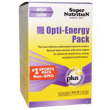 Super Nutrition, Opti-Energy Pack, Multi-Vitamin/Mineral Supplement for Men, Women & Teen, 30 Packets, (6 Tabs) Each
