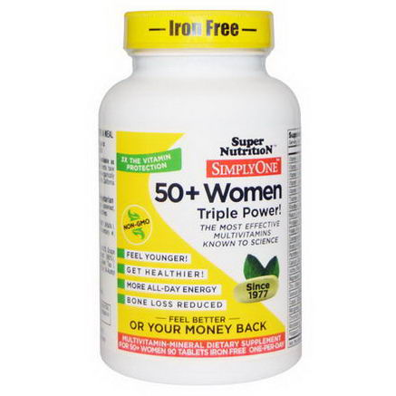 Super Nutrition, Simply One, 50+ Women, Triple Power, Iron Free, 90 Tablets