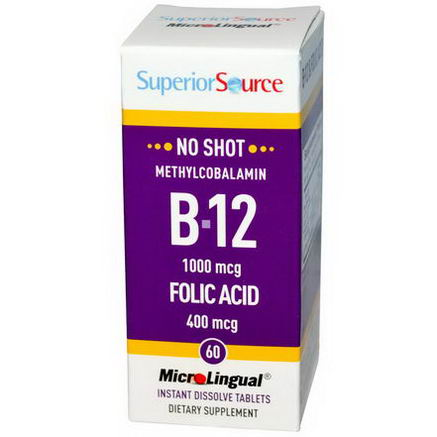 Superior Source, B-12 Methylcobalamin & Folic Acid, 1000 mcg/400 mcg, 60 MicroLingual Instant Dissolve Tablets