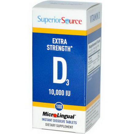 Superior Source, D3, Extra Strength, MicroLingual, 10, 000 IU, 100 Tablets