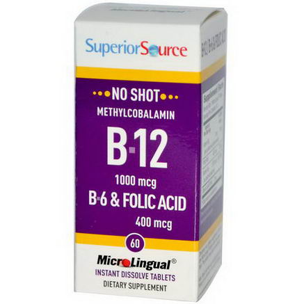 Superior Source, Methylcobalamin B-12 1000 mcg, B-6 & Folic Acid 400 mcg MicroLingual, 60 Tablets