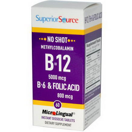 Superior Source, Methylcobalamin B12 5000 mcg, B-6 & Folic Acid 800 mcg MicroLingual, 60 Tablets