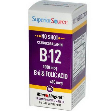 Superior Source, MicroLingual, Cyanocobalamin B-12, 1000 mcg, 100 Tablets