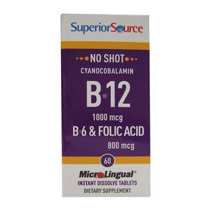 Superior Source, MicroLingual, Cyanocobalamin B-12 1000 mcg, B-6 & Folic Acid 800 mcg, 60 Tablets