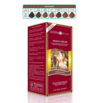 Surya Henna, Brasil Cream, Hair Coloring & Hair Treatment, Chocolate, 2.31 fl oz (70 ml)