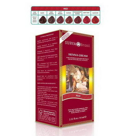 Surya Henna, Brasil Cream, Hair Coloring & Hair Treatment, Red, 2.31 fl oz (70 ml)