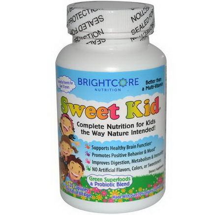 Sweet Wheat, BrightCore Nutrition, Sweet Kid, Green Superfoods & Probiotic Blend, 120 Capsules