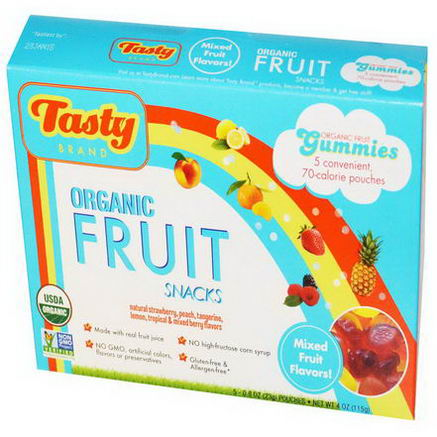 Tasty Brand, Organic Fruit Snack Gummies, Mixed Fruit Flavors, 5 Pouches, 0.8oz (23g) Each