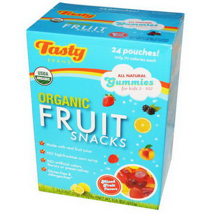 Tasty Brand, Organic Fruit Snacks, Mixed Fruit Flavors, 24 Pouches, 0.8oz (23g) Each