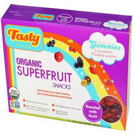 Tasty Brand, Organic Superfruit Snack Gummies, Boosted with Acai, 5 Pouches, 0.8oz (23g) Each