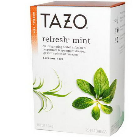 Tazo Teas, Herbal Tea, Refresh Mint, Caffeine-Free, 20 Filterbags, 0.8oz (24g)