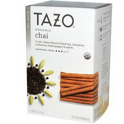 Tazo Teas, Organic Chai, Black Tea, 20 Filterbags, 1.9oz (54g)