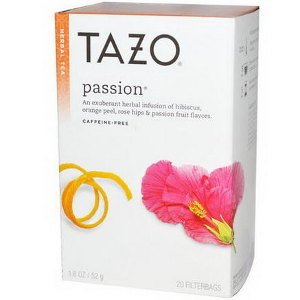 Tazo Teas, Passion, Herbal Tea, Caffeine-Free, 20 Filterbags, 1.8oz (52g)