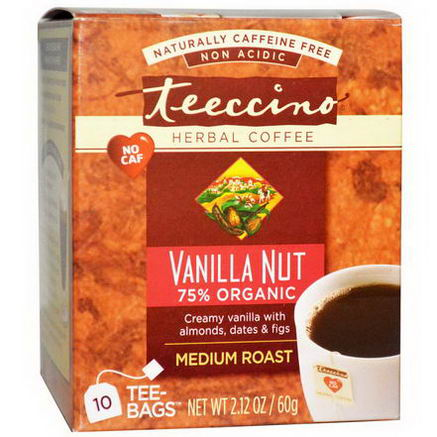 Teeccino, Herbal Coffee, Medium Roast, Caffeine Free, Vanilla Nut, 10 Tee-Bags, 2.12oz (60g)