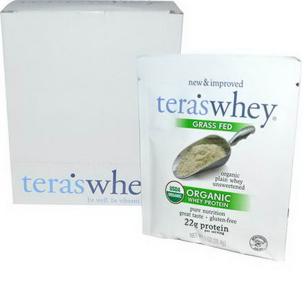 Tera's Whey, Organic Whey Protein, Organic Plain Whey Unsweetened, 12 Packets, 1oz (28.4g) Each