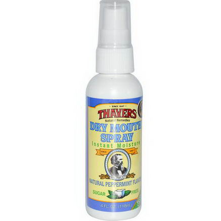 Thayers, Dry Mouth Spray, Instant Moisture, Sugar Free, Natural Peppermint Flavor, 4 fl oz (118 ml)