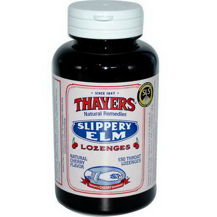Thayers, Slippery Elm Lozenges, Natural Cherry Flavor, 150 Throat Lozenges