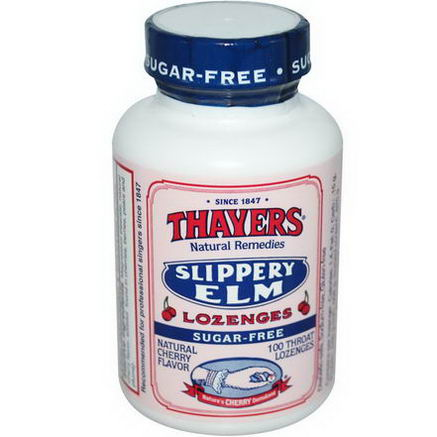 Thayers, Slippery Elm Lozenges, Sugar-Free, Natural Cherry Flavor, 100 Throat Lozenges