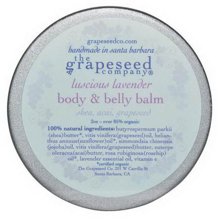 The Grapeseed Company Santa Barbara, Body & Belly Balm, Luscious Lavender, 2oz