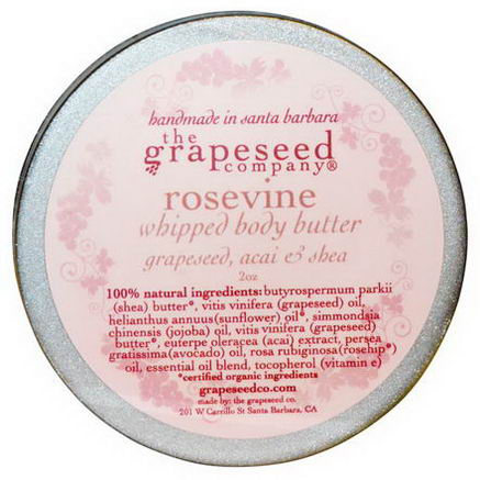 The Grapeseed Company Santa Barbara, Rosevine Whipped Body Butter, 2oz