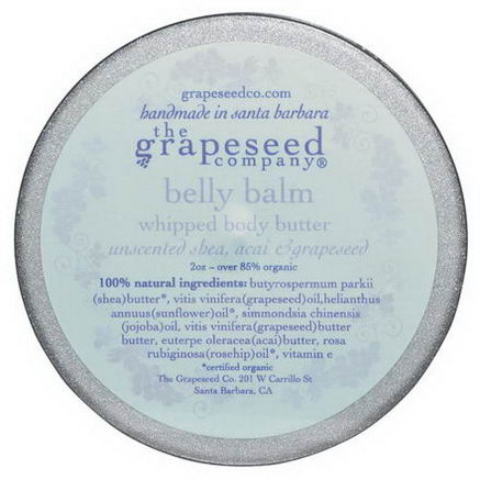 The Grapeseed Company Santa Barbara, Whipped Body Butter, Belly Balm, Unscented, 2oz