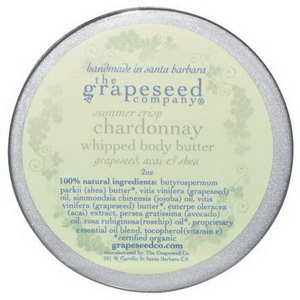 The Grapeseed Company Santa Barbara, Whipped Body Butter, Summer Crisp Chardonnay, 2oz
