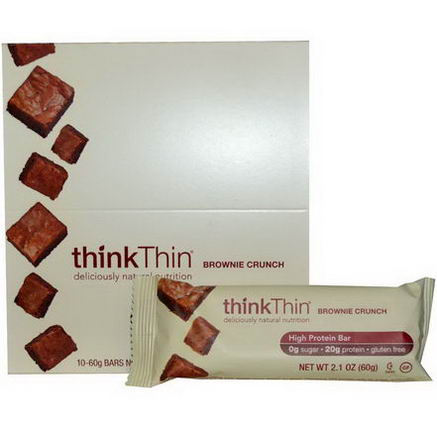 ThinkThin, Brownie Crunch, 10 Bars, 60g Each